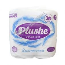 Plushe Deluxe Light Classic - Туалетная бумага с тиснением, 3 слоя, 4 шт