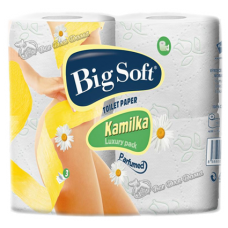 Big Soft Kamilka, туалетная бумага, парфюмированная с тиснением и рисунком, 160 л 3 сл 4 рул
