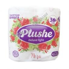 Plushe Deluxe Light Роза - Туалетная бумага с тиснением, 3 слоя, 4 шт