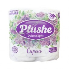 Plushe Deluxe Light Сирень - Туалетная бумага с тиснением, 3 слоя, 4 шт