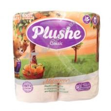Plushe Classic Абрикос - Туалетная бумага с тиснением, 2 слоя, 4 шт