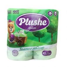 Plushe Classic Зеленое Яблоко - Туалетная бумага с тиснением, 2 слоя, 4 шт